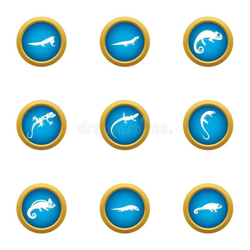 Viviparous lizard icons set, flat style royalty free illustration
