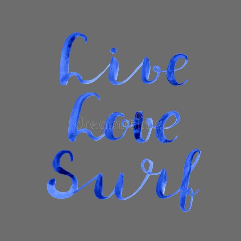 vivo Amor surf Ilustração da rotulação ilustração stock