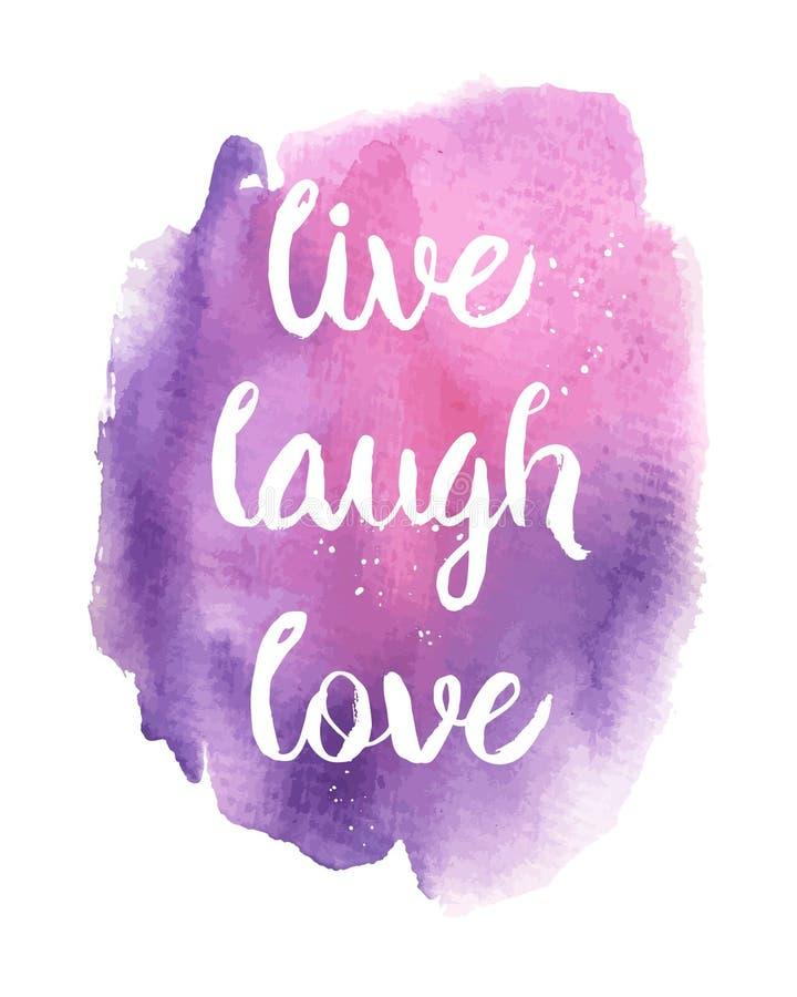 Vivo, risa, frase del amor stock de ilustración