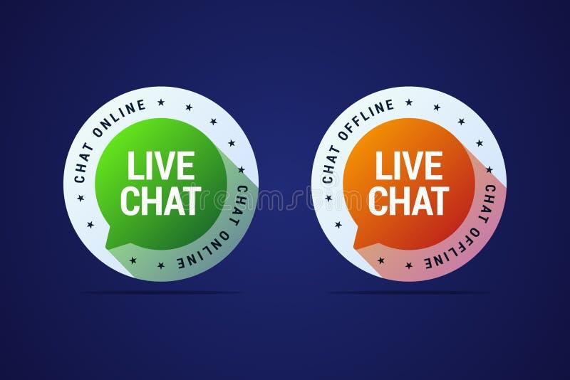Vivono il bottone di chiacchierata per i siti Web e la domanda di assistenza agli'utenti a illustrazione vettoriale