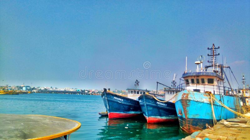 Vizag-Hafen lizenzfreies stockbild
