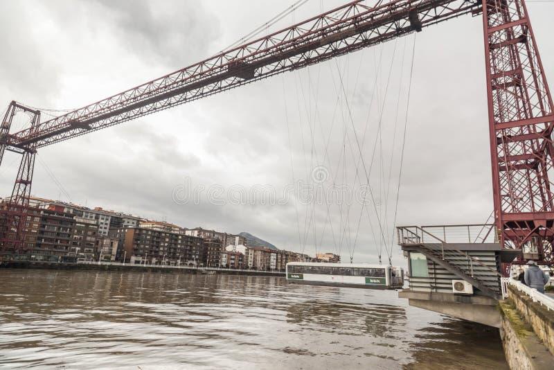 Vizcaya bro, Puente colgantesikt från Getxo, baskiskt land, S arkivbilder