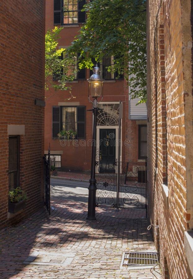 Vizinhança de Beacon Hill, Boston, miliampère, EUA fotos de stock royalty free
