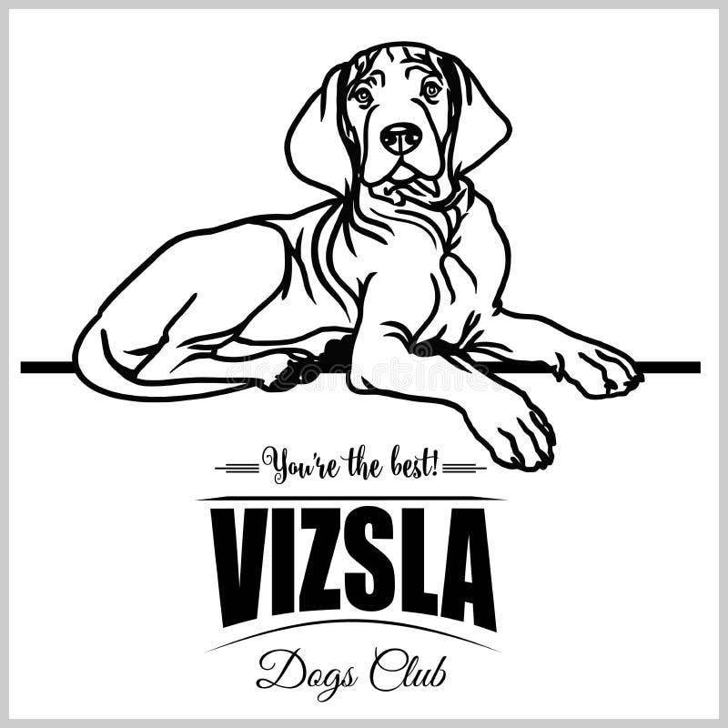 Vizsla - vectorillustratie voor t-shirt, embleem en malplaatjekentekens royalty-vrije illustratie