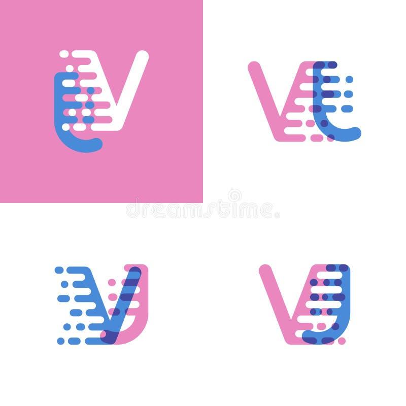 VJ marque avec des lettres le logo avec le rose et doucement le bleu de vitesse d'accent doucement illustration de vecteur