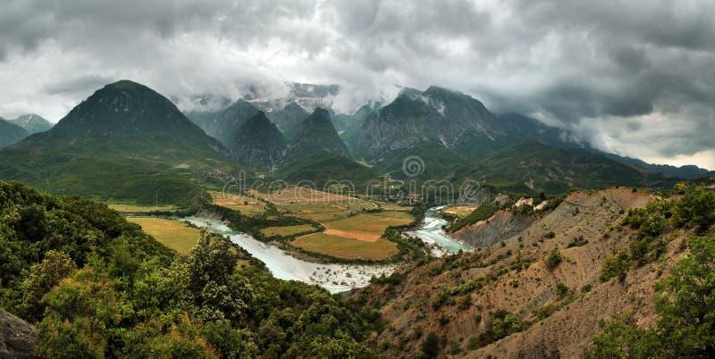 Vjosa Rzeczna dolina, Albania obraz royalty free