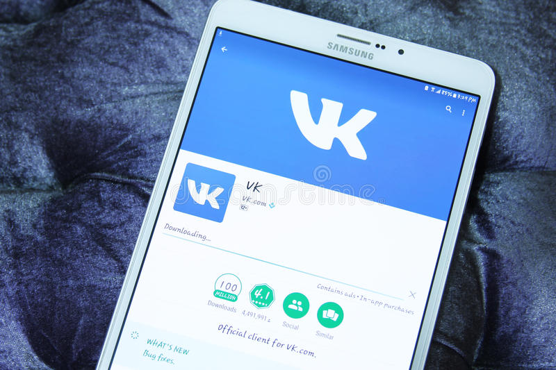 Vk mobile android app. Downloading vk social networking application from google play store on samsung tab s2 stock image
