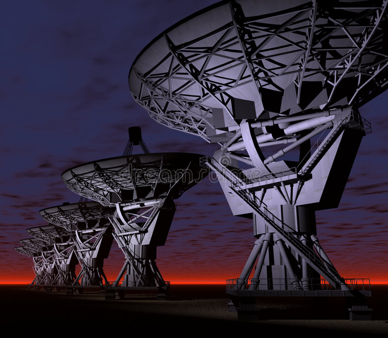 VLA. A computer-generated 3D render illustration of the VLA (Very Large Array) radio telescopes
