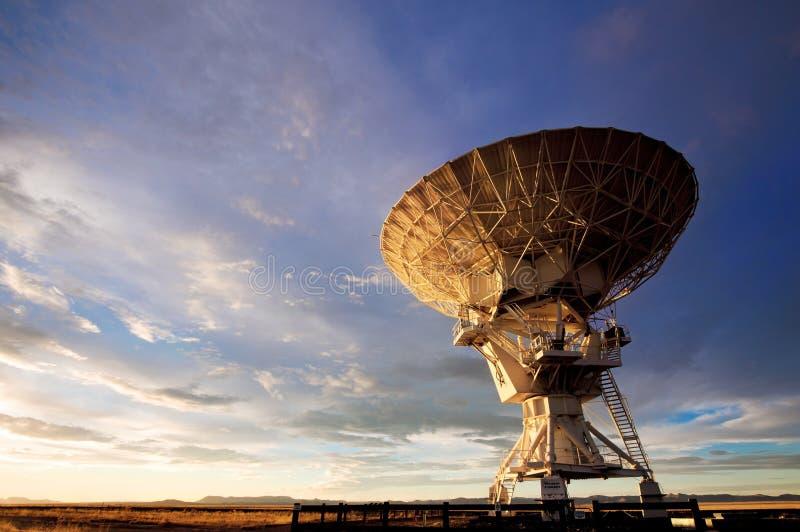 VLA radio telescope. Radio telescope against dramatic sky at the National Radio Astronomy Observatory in Socorro, New Mexico royalty free stock photos