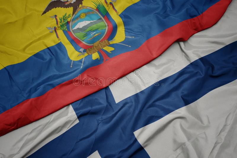 vlaag van finland en nationale vlag van ecuador met een kleurrijke vlag royalty-vrije stock foto
