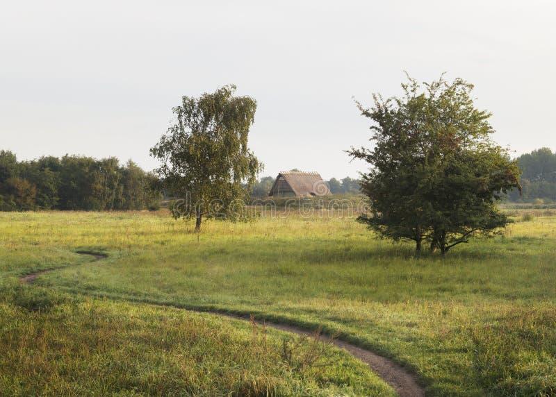 Vlaardingen, Nederländerna, september 2019, väg till återuppbyggnaden av ett medeltida hus, Rotta house fotografering för bildbyråer