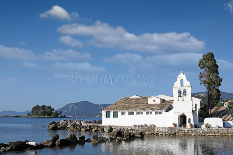 Vlacherna修道院科孚岛海岛希腊 库存照片