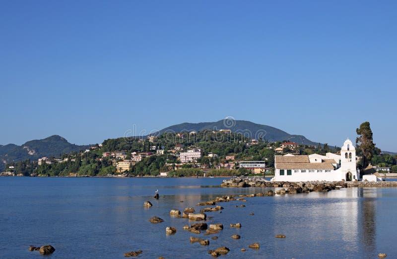 Vlacherna修道院科孚岛海岛风景 库存照片