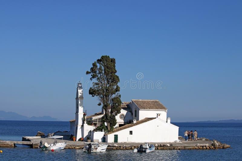 Vlacherna修道院科孚岛海岛 库存图片