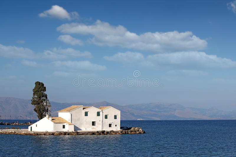 Vlacherna修道院科孚岛 库存照片