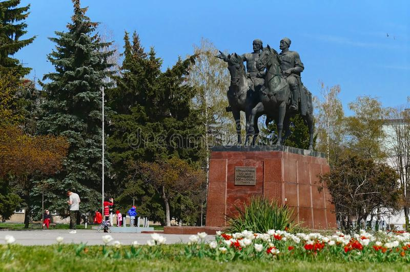 Vladikavkaz, North Ossetia - Alania, Russia - 2016 04 10: A monument erected on the 50th October revolution anniversary square in. Vladikavkaz city was devoted royalty free stock photos