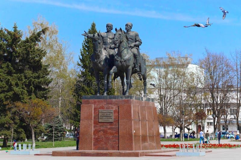 Vladikavkaz, North Ossetia - Alania, Russia - 2016 04 10: A monument erected on the 50th October revolution anniversary square in. Vladikavkaz city was devoted stock photos