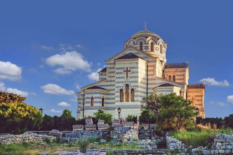 Vladimir Cathedral in Chersonesos - la chiesa ortodossa del patriarcato di Mosca sul territorio di Tauric Chersonesos fotografia stock