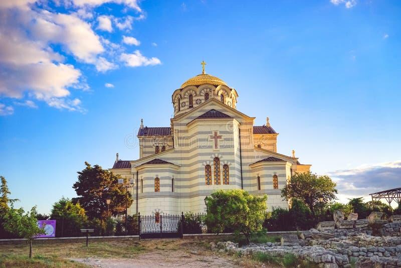 Vladimir Cathedral in Chersonesos - la chiesa ortodossa del patriarcato di Mosca sul territorio di Tauric Chersonesos fotografie stock