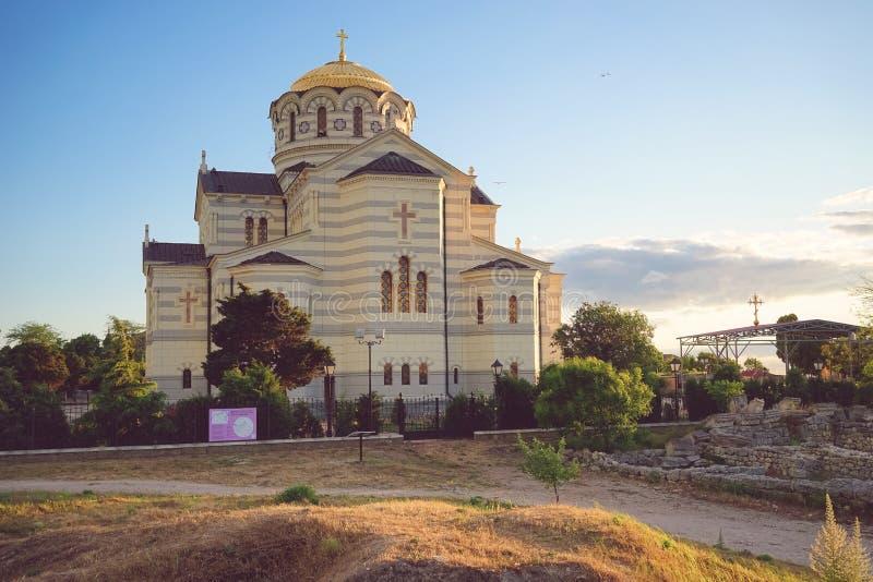 Vladimir Cathedral in Chersonesos - la chiesa ortodossa del patriarcato di Mosca sul territorio di Tauric Chersonesos fotografia stock libera da diritti
