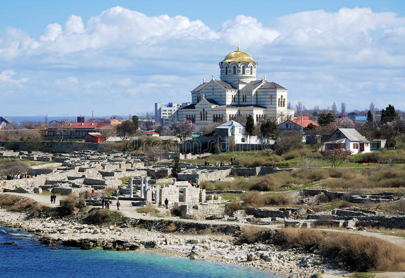 Vladimir Cathedral in the Chersonesos Taurica royalty free stock images