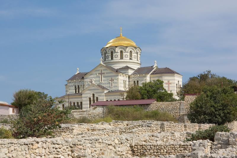 Vladimir Cathedral in the Sevastopol city, Crimea,. Russia royalty free stock image