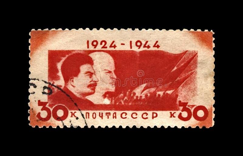 Vladimir Lenin i Joseph Stalin, sławny sowiecki polityka lider, 20th rocznica śmierć, USSR, około 1944 obraz royalty free