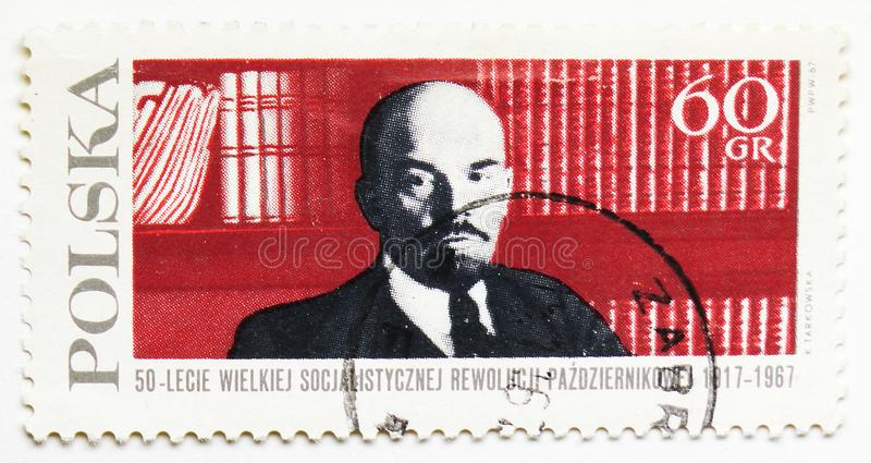 Vladimir Lenin 1870-1924, Russian Revolution, 50th Anniversary serie, circa 1967. MOSCOW, RUSSIA - JULY 15, 2019: Postage stamp printed in Poland shows Vladimir royalty free stock images