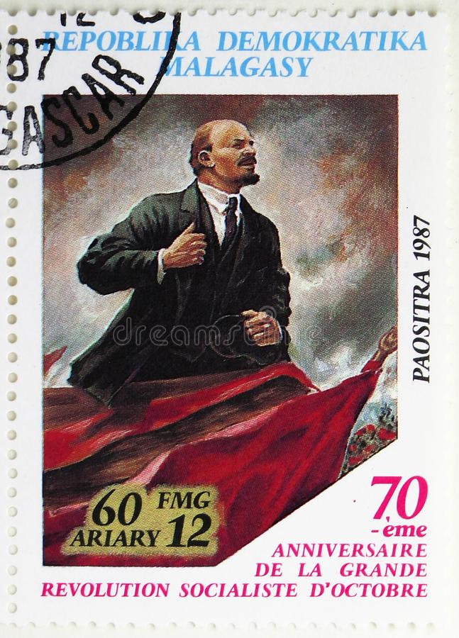 Vladimir Lenin, 70th Anniversary of October Revolution serie, circa 1988. MOSCOW, RUSSIA - JULY 25, 2019: Postage stamp printed in Madagascar shows Vladimir royalty free stock photos