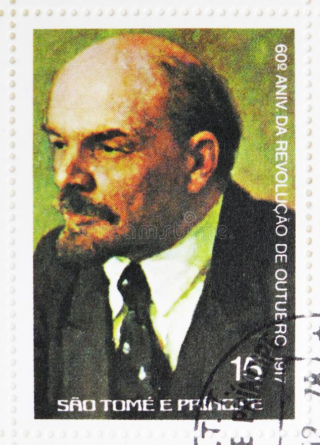 Vladimir Lenin (1870-1924), 60th anniversary of the October Revolution serie, circa 1977. MOSCOW, RUSSIA - JULY 25, 2019: Postage stamp printed in Sao Tome and royalty free stock image