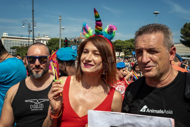 Vladimir Luxuria in the square at the Gay Pride in Rome stock images
