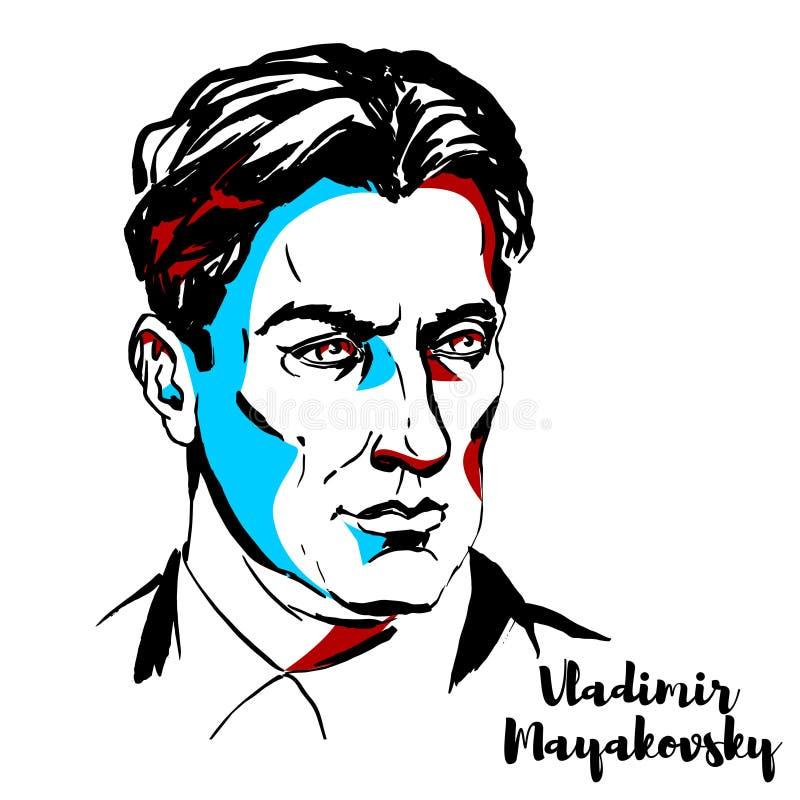 Vladimir Mayakovsky Portrait lizenzfreie abbildung