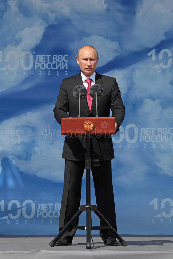 Vladimir Putin. ZHUKOVSKY, RUSSIA - AUG 11: Vladimir Putin, The President of Russia at the opening ceremony of the celebration of 100 years of military air stock photography