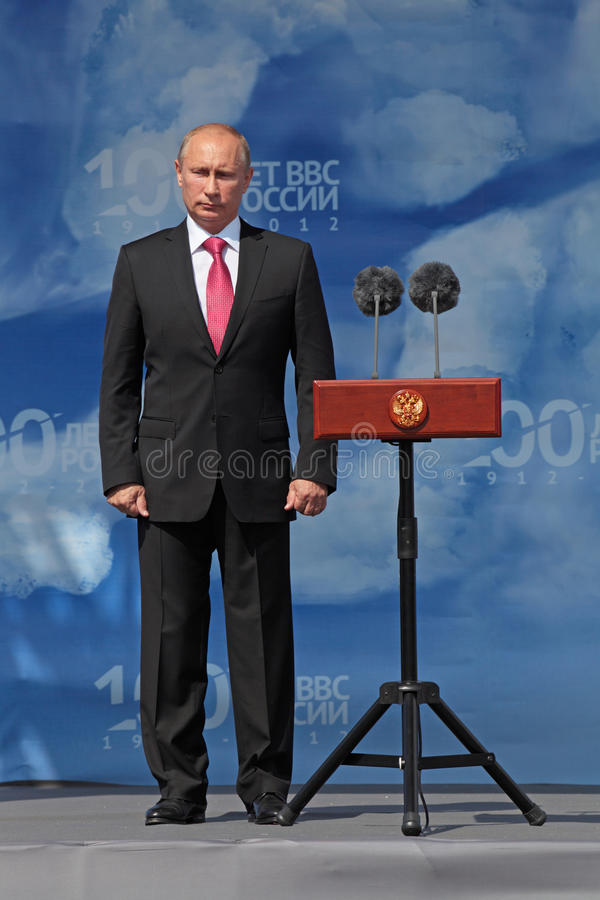 Vladimir Putin. ZHUKOVSKY, RUSSIA - AUG 11: Vladimir Putin, The President of Russia at the opening ceremony of the celebration of 100 years of military air royalty free stock image