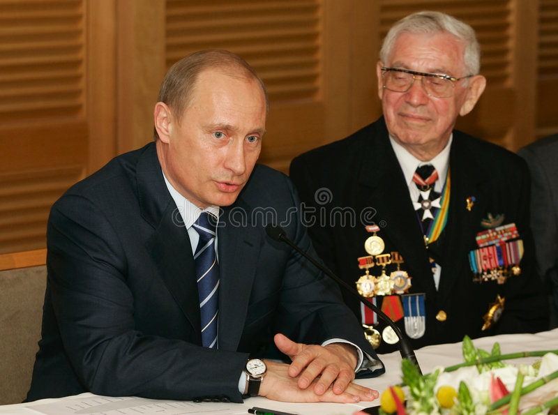 Vladimir Putin. The president of Russia Vladimir Putin at a meeting with veterans Great Patriotic War royalty free stock image
