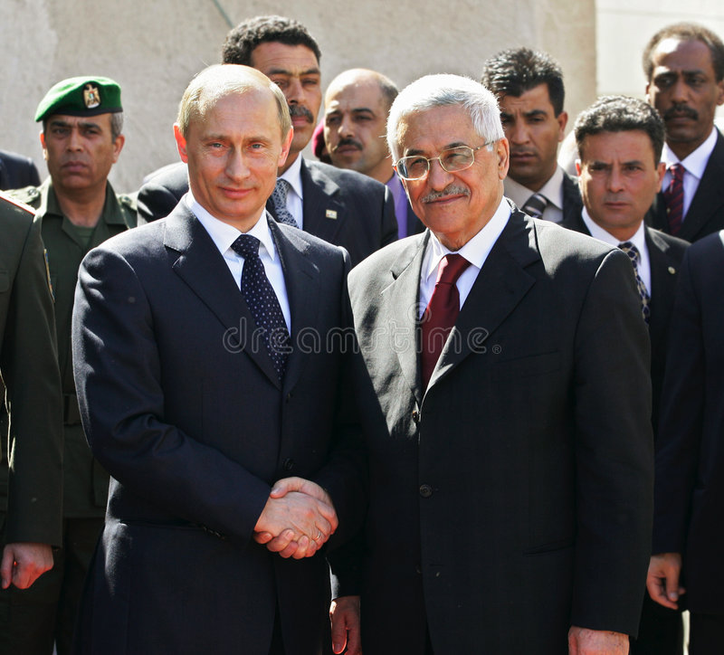 Vladimir Putin e Mahmoud Abbas fotografia de stock