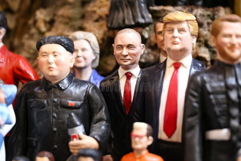 Vladimir Putin Miniature in Naples, Italy. Vladimir Putin Miniature in Naples City, Italy stock photo