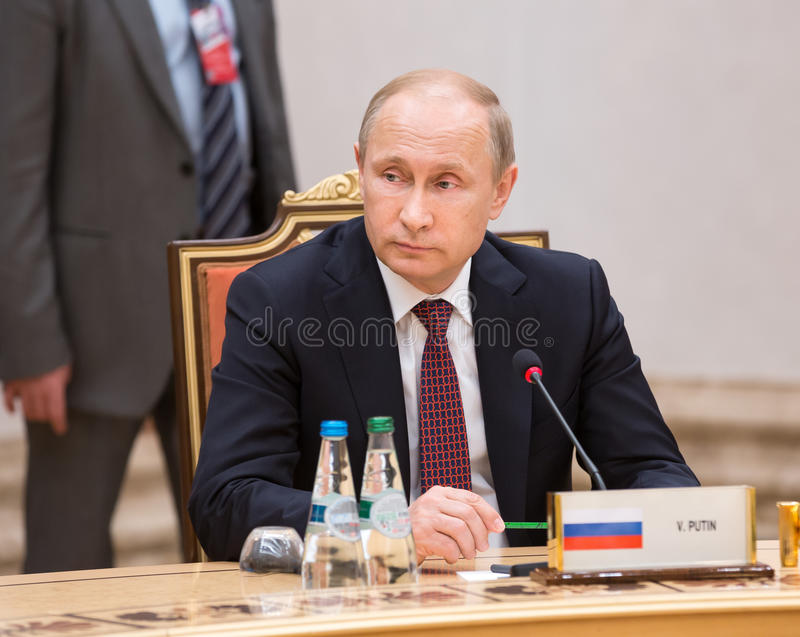 Vladimir Putin. MINSK, BELARUS - Feb 11, 2015: Russian President Vladimir Putin before the negotiations of leaders of states in Normandy format in Minsk royalty free stock images