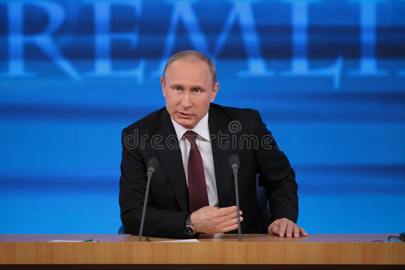 Vladimir Putin. MOSCOW, RUSSIA - DEC 19: The President of the Russian Federation Vladimir Vladimirovich Putin annual press conference in Center of international stock photography