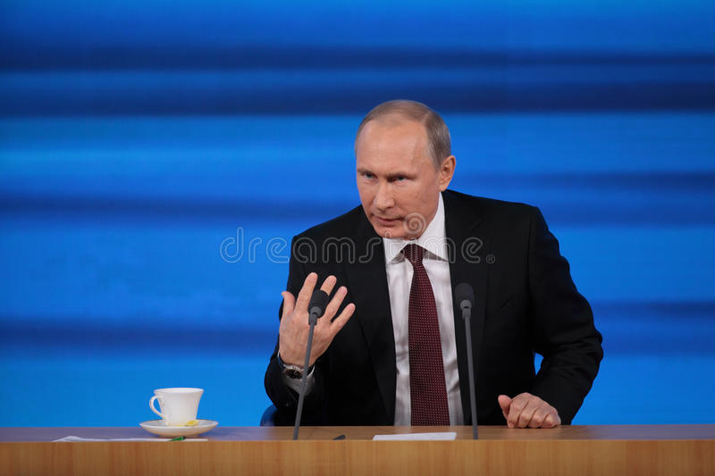 Vladimir Putin. MOSCOW, RUSSIA - DEC 19: The President of the Russian Federation Vladimir Vladimirovich Putin annual press conference in Center of international royalty free stock images