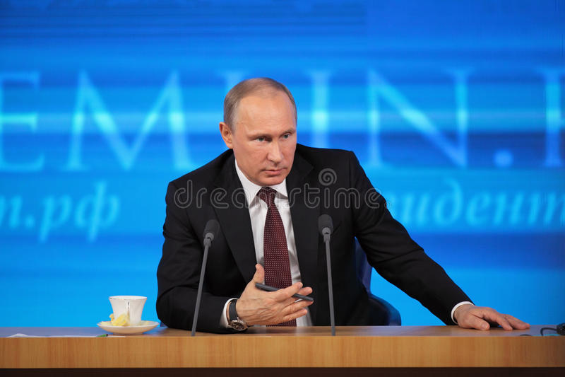 Vladimir Putin. MOSCOW, RUSSIA - DEC 19: The President of the Russian Federation Vladimir Vladimirovich Putin annual press conference in Center of international royalty free stock photo