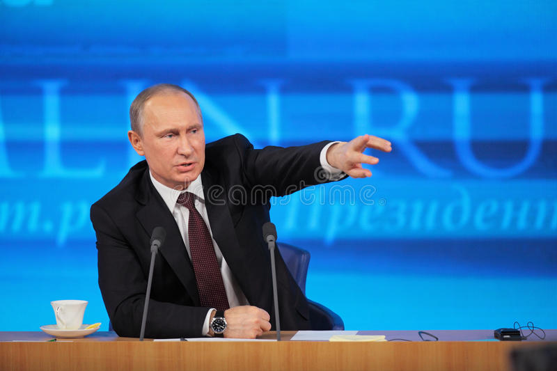 Vladimir Putin. MOSCOW, RUSSIA - DEC 19: The President of the Russian Federation Vladimir Vladimirovich Putin annual press conference in Center of international royalty free stock image