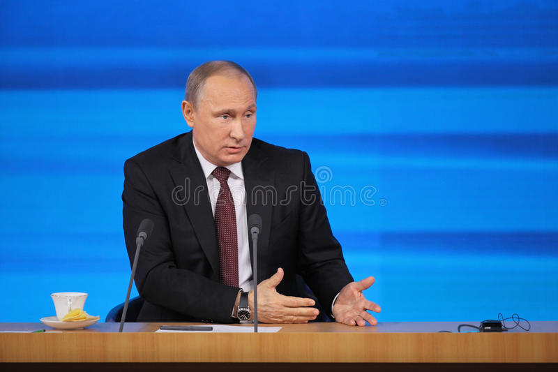 Vladimir Putin. MOSCOW, RUSSIA - DEC 19, 2013: The President of the Russian Federation Vladimir Vladimirovich Putin annual press conference in Center of stock images