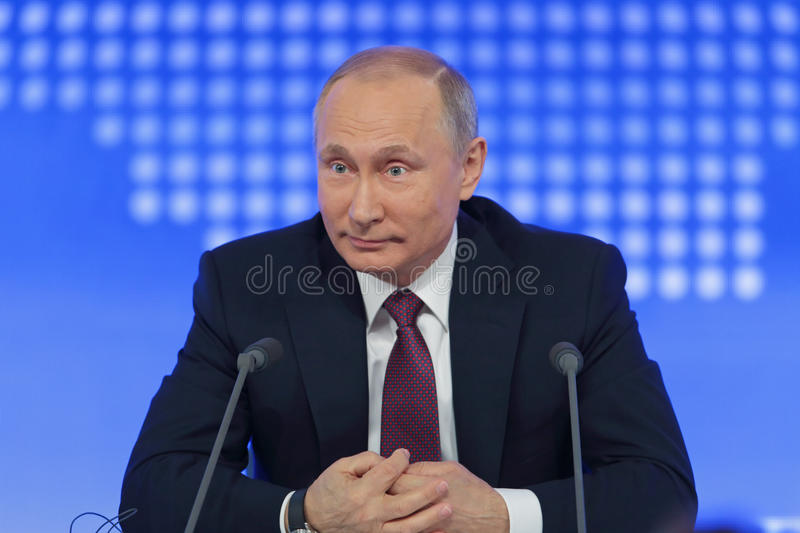 Vladimir Putin. MOSCOW, RUSSIA - DEC 23, 2016: The President of the Russian Federation Vladimir Vladimirovich Putin annual press conference in Center of royalty free stock photos