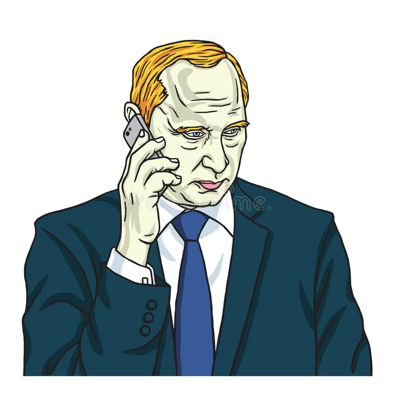 Vladimir Putin on Phone. Vector Portrait Cartoon Caricature. August 14, 2017 royalty free illustration