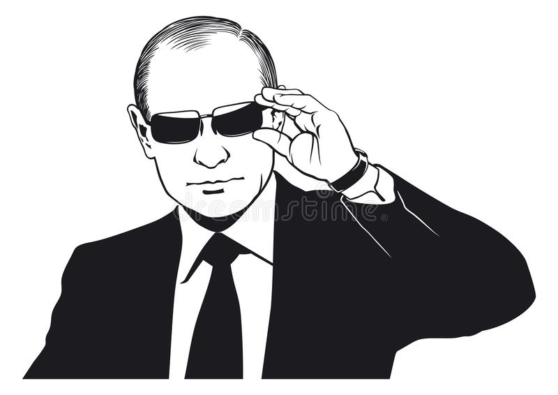 Vladimir Putin portrait. Simplified version. Vector illustration for your projects