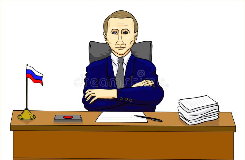Vladimir Putin, président à la table, chef russe illustration stock