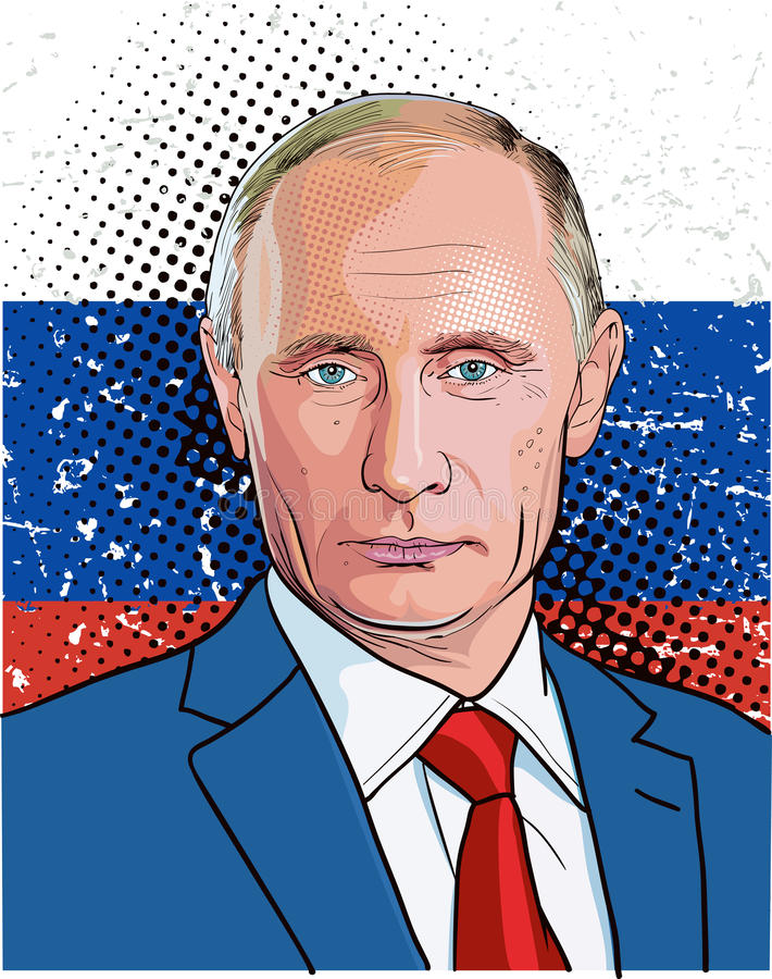 Vladimir Putin portrait, line art illustration vector stock illustration