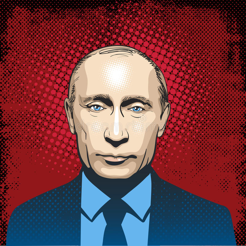 Vladimir Putin portrait, line art illustration vector. President of Russia, Vladimir Vladimirovich Putin is the President of Russia, a position he has held since