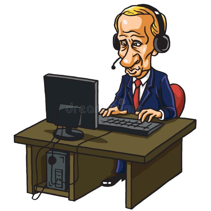 Vladimir Putin przed Jego komputerem Kreskówki karykatury wektoru ilustracja